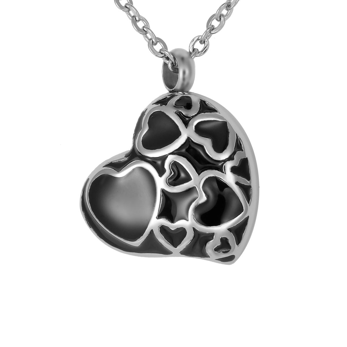 Lily Stainless Steel Silver Black Glue Love Heart Cremation Jewelry Ashes Pendant Keepsake Memorial Urn Necklace with Gift Bag And Chain