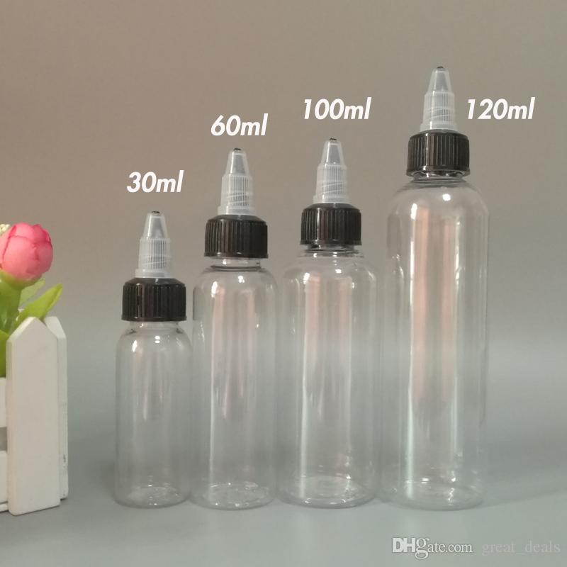 E Cig 액체 E 주스를 위한 모자 30ml60ml100ml120ml 애완 동물 펜 모양 병 떨어져 강선전도를 가진 플라스틱 점적기 병