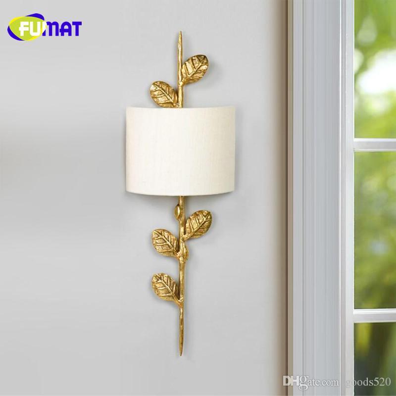 Ткань бра с медными листьями настенный светильник спальня прикроватная лампа Гостиная Коридор вход Медный бра