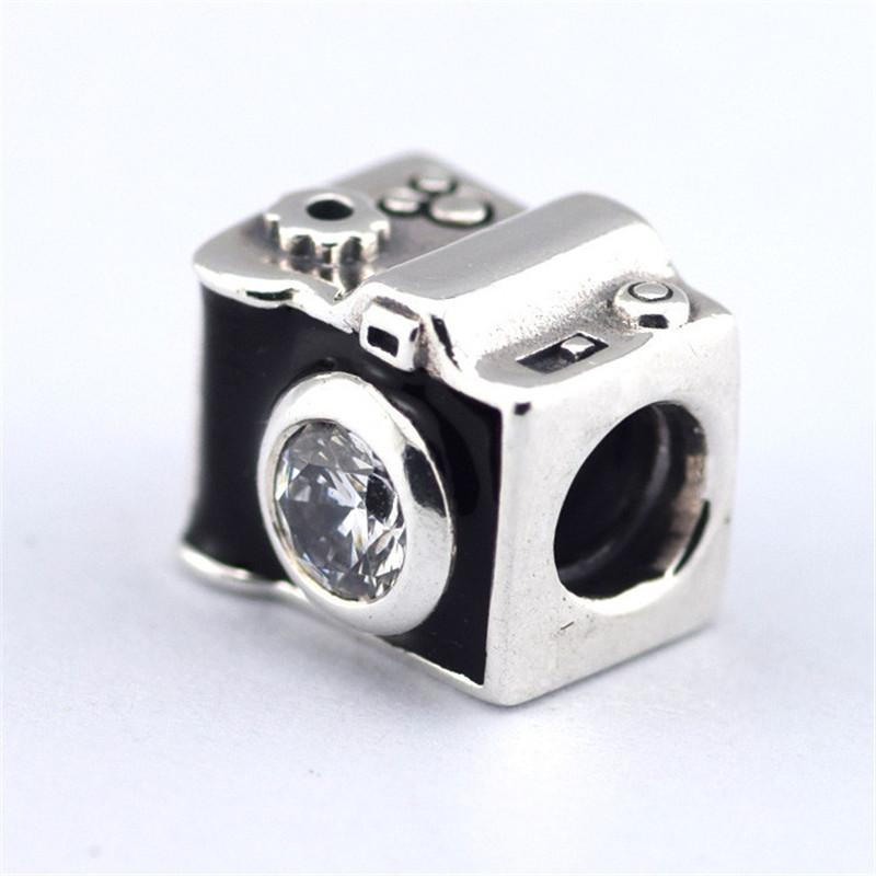 925 Sterling Silver Camera Charm Beads With Cubic Zirconia Fits Pandora Fine Jewelry Bracelets & Necklaces
