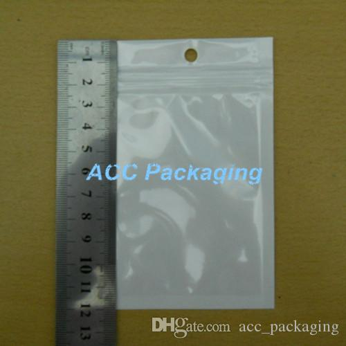 "Grosso 7.5 * 12 centímetros (3,0 * 4.7"" ) Limpar White Pearl plástico Poly OPP embalagem Zipper fechamento Retail Pacotes Jóias Food PVC Plastic Bag"