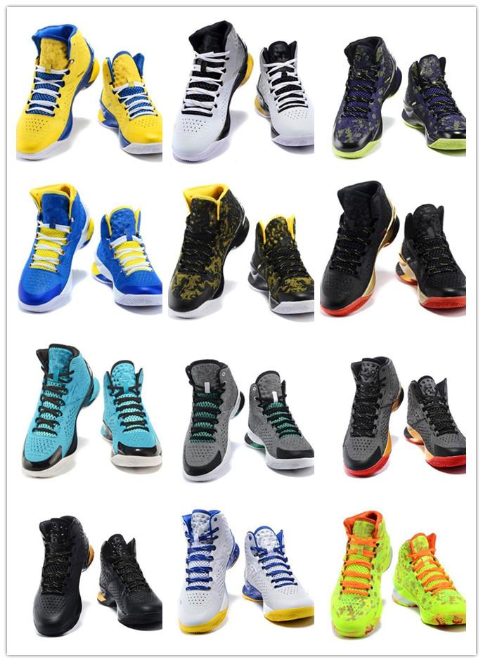 2020 Wholesale 2015 Hot Stephen Curry 1 One Surprise Party White Blue Basketball Shoes Men Cheap Black Yellow Championship Sneakers From