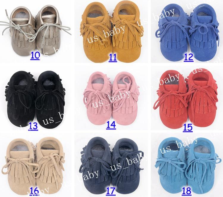2016 baby cow leather moccasins infant suede leather moccs sweet girls fringe boots 2layer tassel 54colors choose free fedex ship