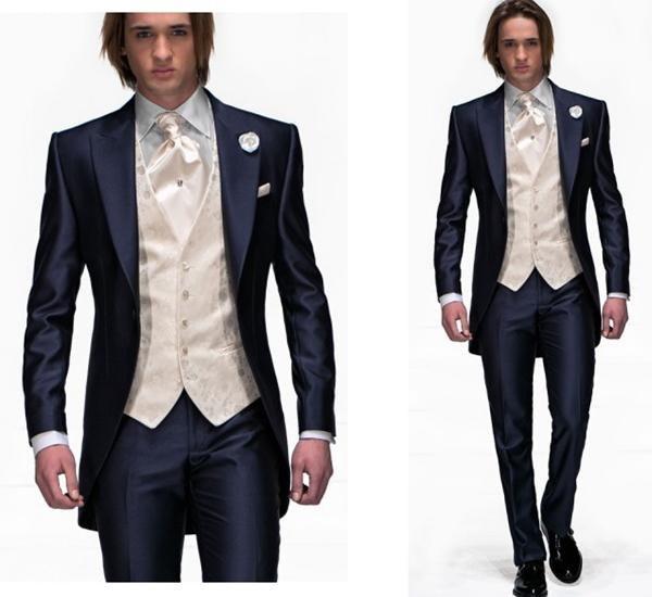 2015 One Button Navy Blue Groom Tuxedos Peak Lapel Best Man Suits Groomsman Men Wedding Prom Suits Custom Made (Jacket+Pants+Tie+Vest)