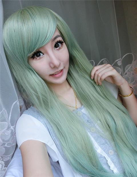 high fashion women hair drag queen wigs long harajuku style ombre pastel mint green wig heat resistant synthetic wigs cosplay wig