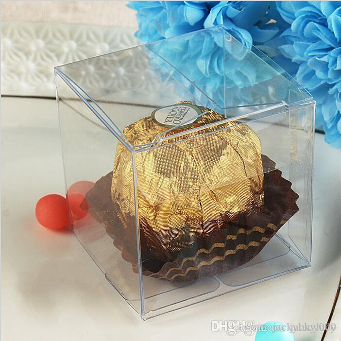 Vendita al dettaglio di alta qualità 7 centimetri quadrato universale PVC trasparente contenitore di plastica Contenitori di gioielli Contenitore di regalo di caramelle al cioccolato