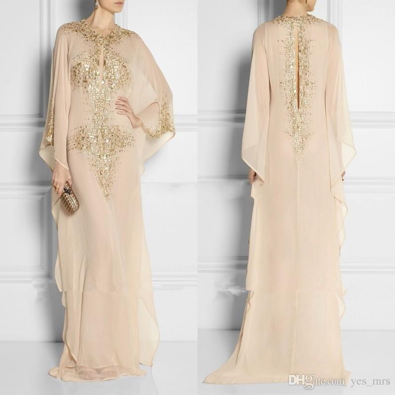 2018 pas cher Long arabe cristal perlé vêtements islamique pour les femmes Abaya à Dubaï caftan musulman keyhole cou robes de soirée robes de soirée de bal