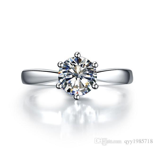 الجملة 1.5ct الاصطناعية خاتم الخطوبة الماس للنساء 925 فضة 18 كيلو الذهب الأبيض مطلي مجوهرات الزفاف