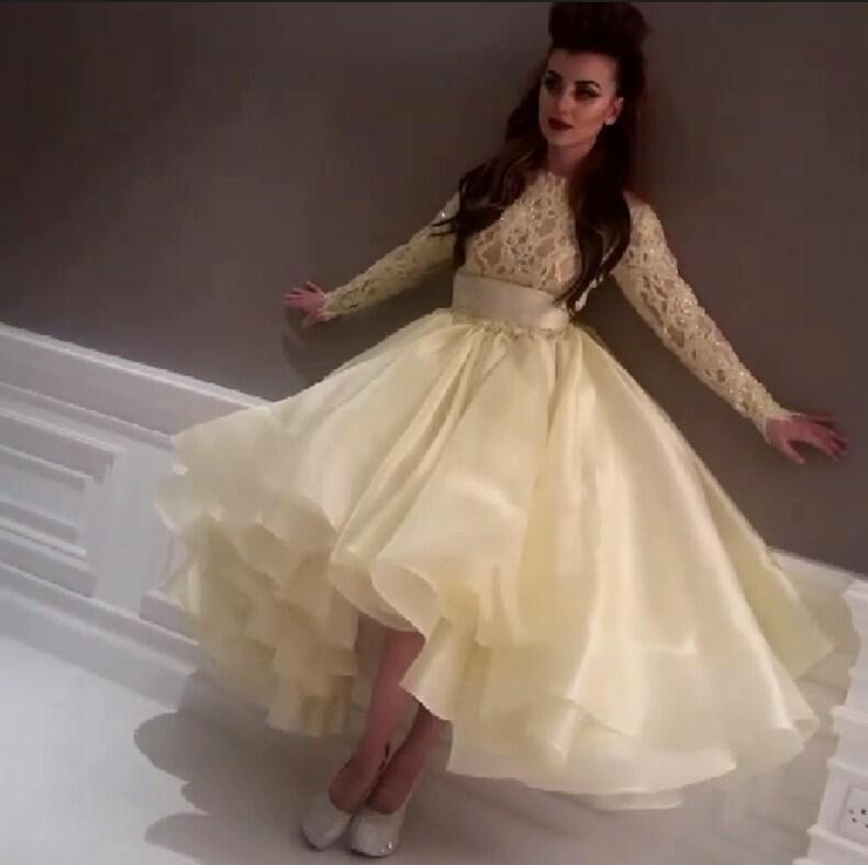 2019 Myriam Fares Evening Dresses with Long Sleeves Arabia Beaded Lace Prom Dresses Jewel Neck Cocktail High Low Party Celebrity Formal Gown