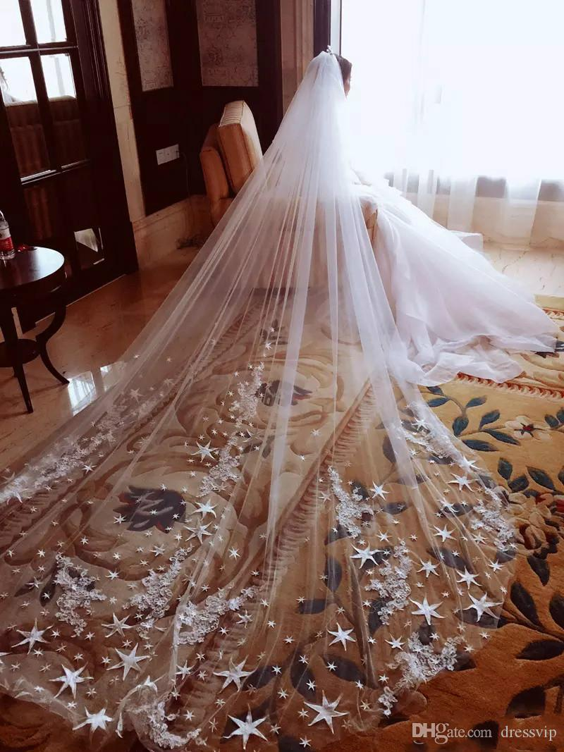 VL50 Cathedral Wedding Veil,Chapel Veil,Two Tier Wedding Veil,Lace Applique Veil,Long Veil,Lace Veil,Long Lace Veil,Sequined Lace Veil
