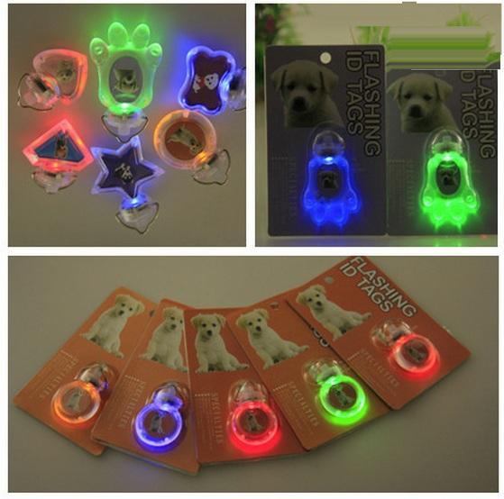 LED 깜박이 개 태그 애완 동물 LED 개 이름 ID 태그 LED 개 태그 발, 별, 심장, 라운드, 뼈 날카로운