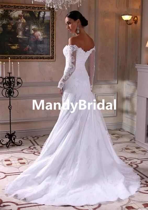 2018 Elegant Wedding Dresses Mermaid Lace Satin Mature Bridal ...