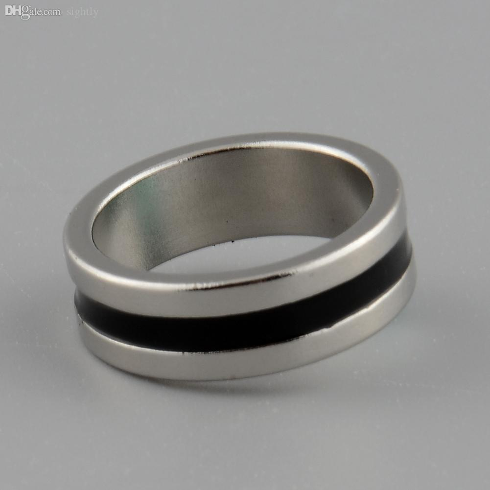Wholesale-Hot New Strong Magnetic Magic Ring color Silver+Black Finger Magician Trick Props Tool Inner Dia 20mm Size L