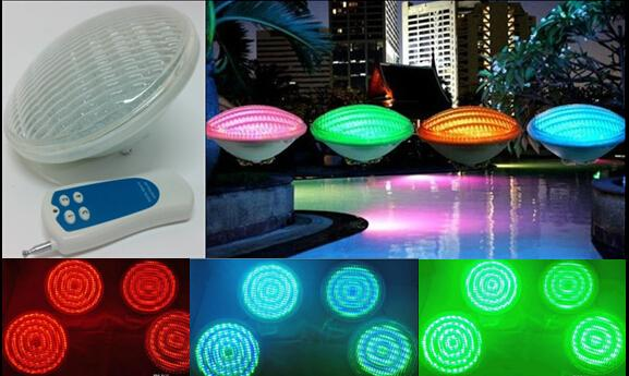 24W 36W 54W Par56 Outdoor RGB LED Underwater Lights Lamps AC12V Par 56 Exterior Swimming Pool Lighting Bulb with Remote Controller CE ROSH