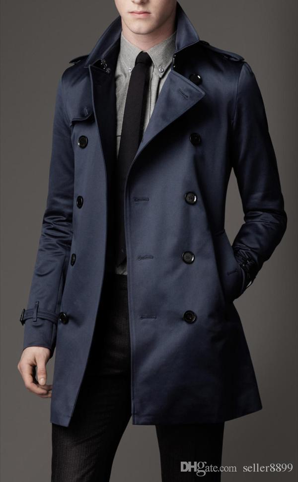 2018 جديد نمط رجل الشتاء الطويلة معاطف صالح سليم الرجال خندق معطف عارضة الرجال مزدوج اعتلى خندق معطف نمط المملكة المتحدة وأبلى