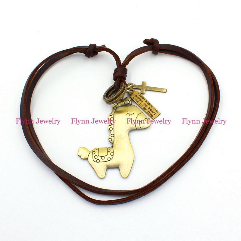 The little donkey Accessories Metal Pendant Amulet Adjustable Leather Necklace Punk Cowboy Decorations Gift 10pcs/lot