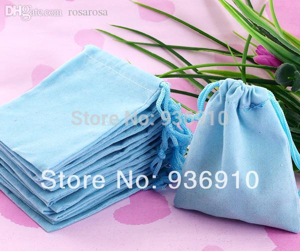 All'ingrosso-2015 tessuto gioielli limitati spedizione gratuita 100pcs 7x9cm blu velluto con coulisse sacchetto / sacchetto dei monili, natale / regalo sacchetto di nozze