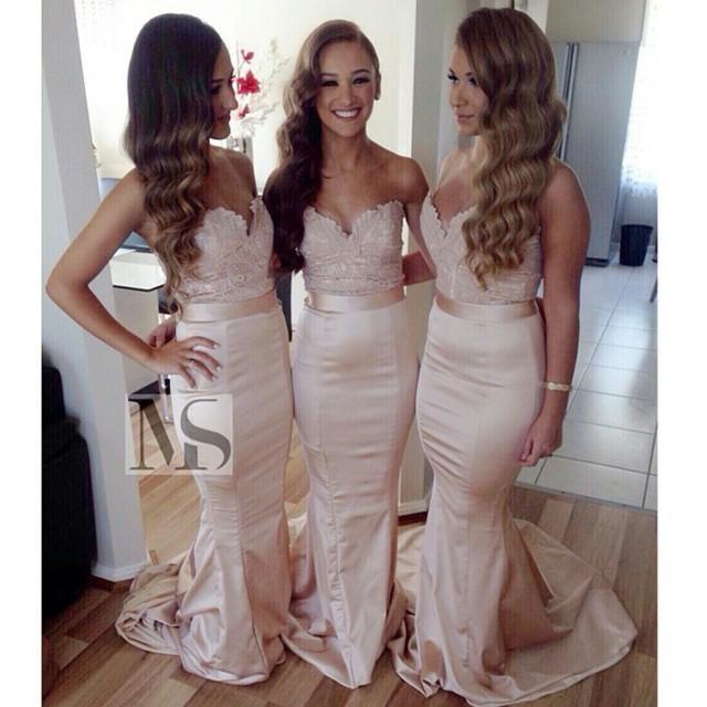 2015 استحى الوردي العروسة فساتين الحبيب حمالة الطابق طول الرباط وصيفة الشرف لحفل زفاف التفتا حورية البحر فستان الزفاف