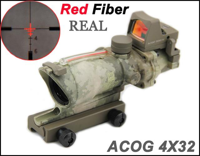 New Tactical Trijicon ACOG 4X32 Real Fiber Source Red Illuminated(Real Red Fiber) Scope w/ RMR Micro Red Dot Sight A-TACS