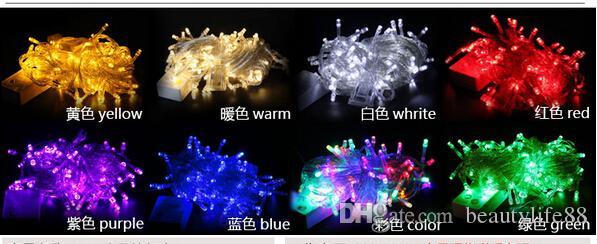 200 LED 20M سلسلة الأنوار الجنية عيد الميلاد 64ft إكليل الديكور حفل زفاف الديكور ملون 9 اللون اختياري