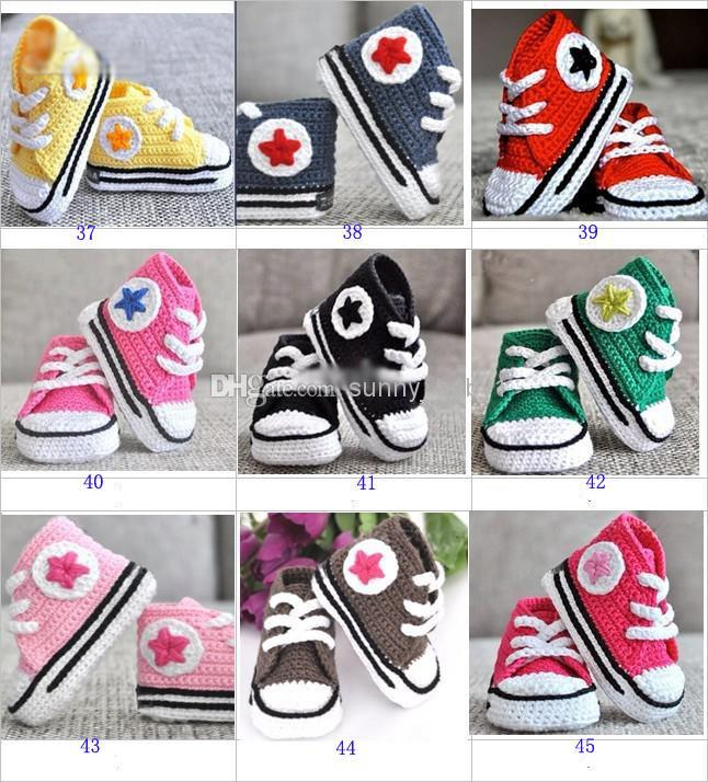 Zapatillas de deporte de crochet para bebé zapatos botines, zapatillas de deporte de 5 estrellas de crochet hechas a mano prewalker para bebés / niños pequeños / niños