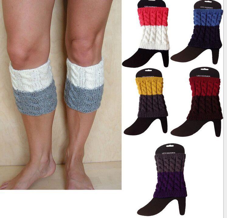 2015 2 tone gradient color Twist Crochet Knit Leg Warmers Boot Cuffs Toppers Boot Socks 100pairs/lot #3909