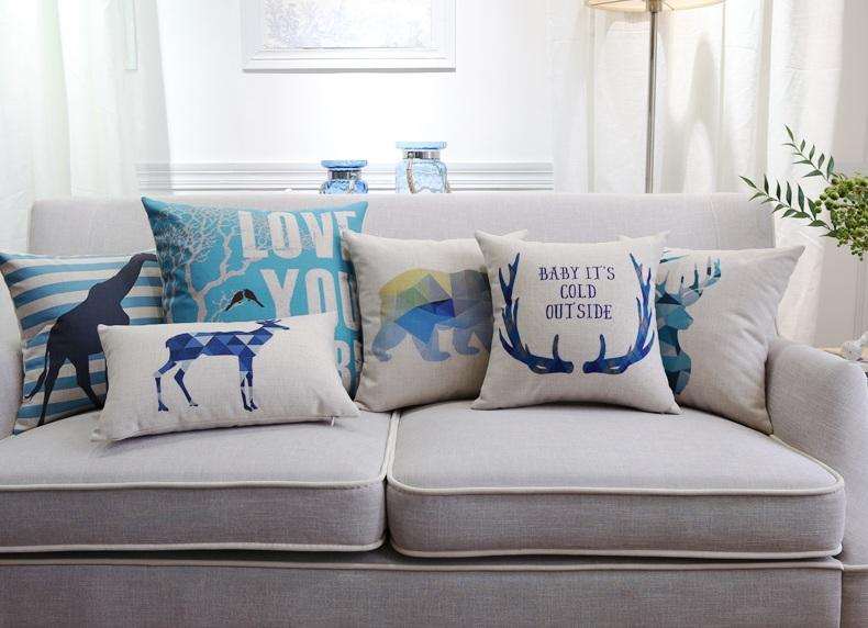 English Letters Love You Cushion Cover Nordic Geometric Triangles Deer Stag Elk Giraffe Bear Tree Cushions Covers Linen Cotton Pillow Case