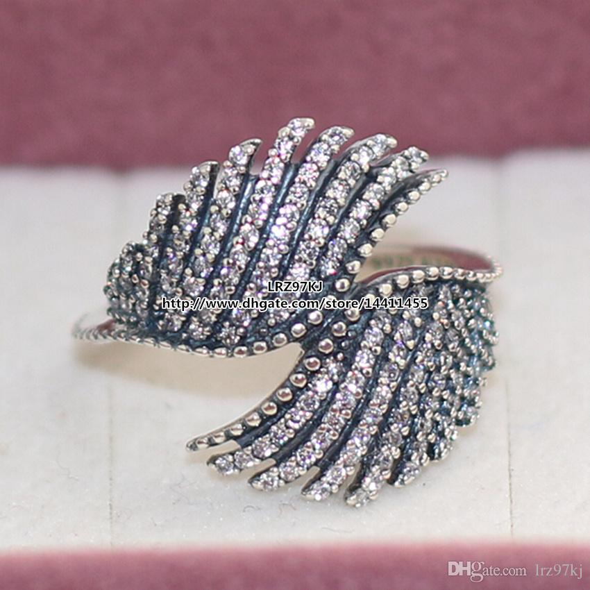 High quality 100% 925 Sterling Silver Majestic Feathers Ring with Clear CZ European Pandora Style Jewelry Charm