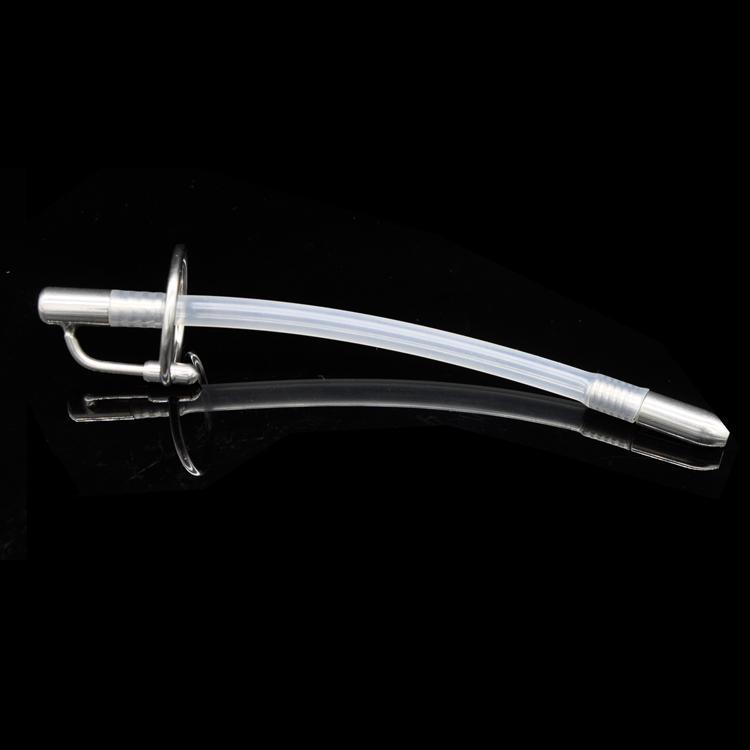 Al por mayor - Tamaño medio de acero inoxidable Bondage Urethra Penis Plug + Extra Silicone Tube