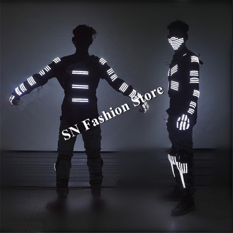 L99 Ballroom dance led costumes glowing light robot suit dj mask clothes knees stage disco wears luminous gloves RGB/ white