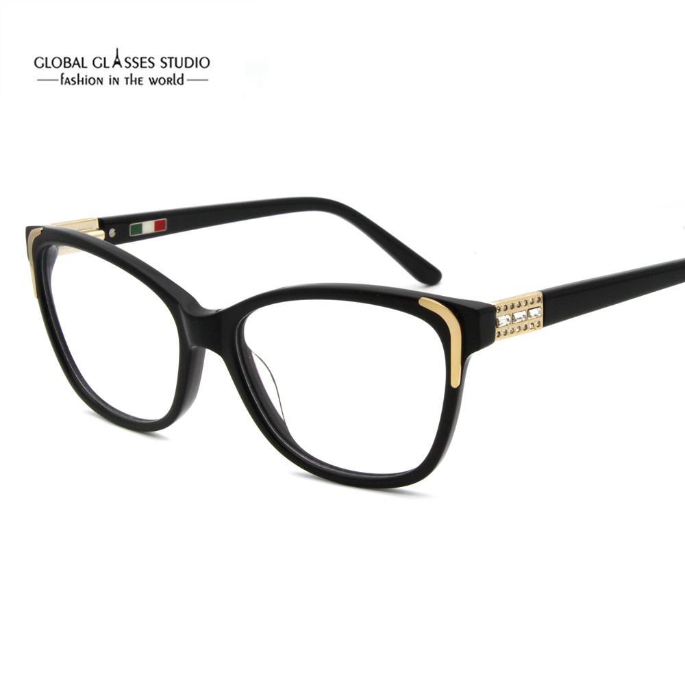 Ücretsiz Kargo El Yapımı Asetat Gözlük Çerçeveleri Moda Parlak Rhinestones Ile Moda Tasarımcısı Yeni Tasarımcı Gözlük 601R