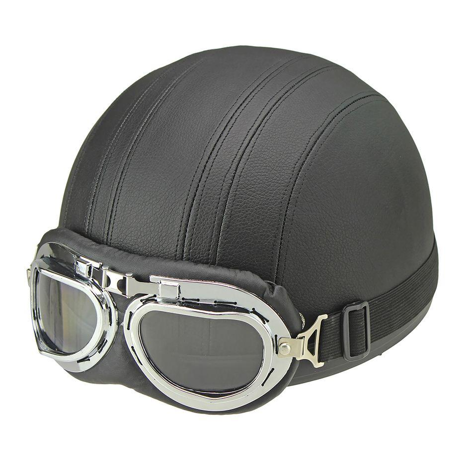 Venda quente de Couro Sintético Marrom do vintage Da Motocicleta Moto Vespa Rosto Aberto Meia Motocicleta scooter Capacetes Óculos de Viseira