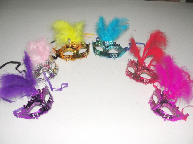 Ostrich Feather Crystal mask fringed mask venetian masquerade gift halloween decoration mix color 120pcs/lot