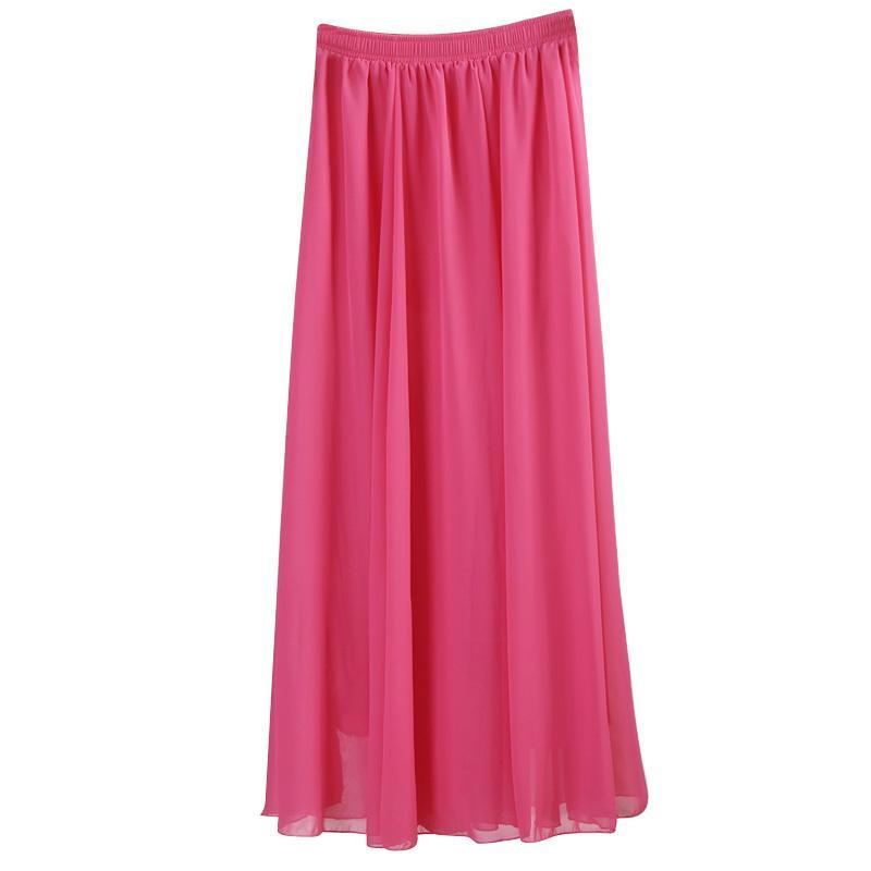 All'ingrosso chiffon delle donne all'ingrosso lunghe gonne a pieghe di colore della caramella Maxi Gonne 2017 Primavera Estate Gonne saia Feminina Solid Faldas