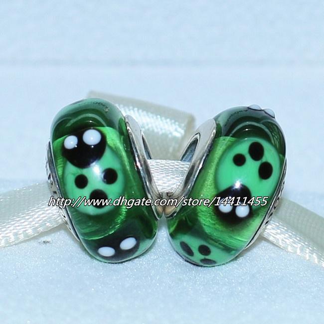 5pcs 925 ale sterling silver skruv grön nyckelpiga murano glaspärla passar europeiska pandora smycken charm armband halsband pendlar