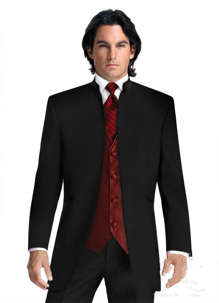 No Button Abiti da sposa Smoking da sposo nero Groomsmen Best Prom da uomo Abiti formali Custom Made (Jacket + Pants + Vest + Tie)