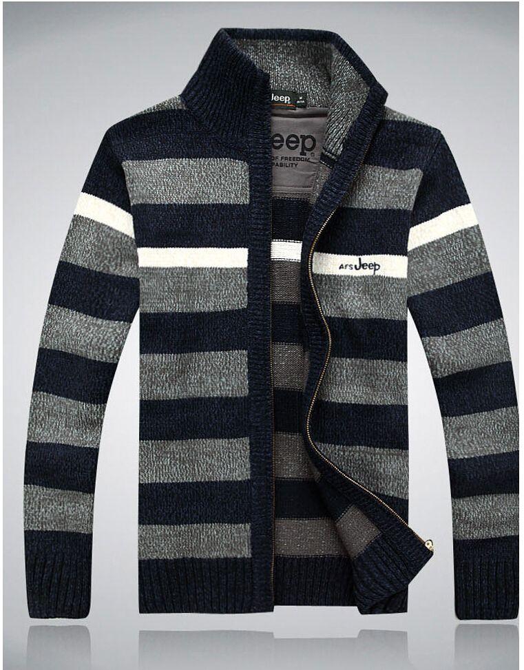 도매 - 2015 새로운 캐주얼 겨울 남자 가디거 남자 스웨터 두꺼운 벨벳 니트웨어 스탠드 칼라 양모 혼합 따뜻한 의류 솔리드 플러스 크기