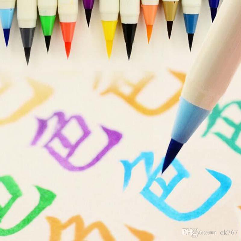 120pcs/lot Creative Platinum Japanese Calligraphy Pens Colorful New Soft Brushes Pen Chinese Calligraphy Brush free shipping