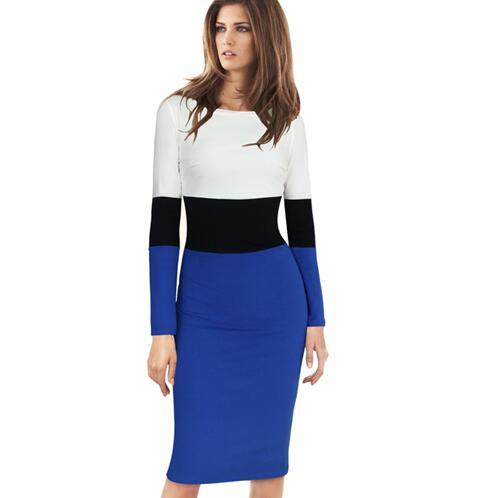 Lcw New Fashion Womens Autumn Fashion Long Sleeve Colorblock Patchwork Wear to Work Office Casual Party Sheath Pencil Fitted Dress