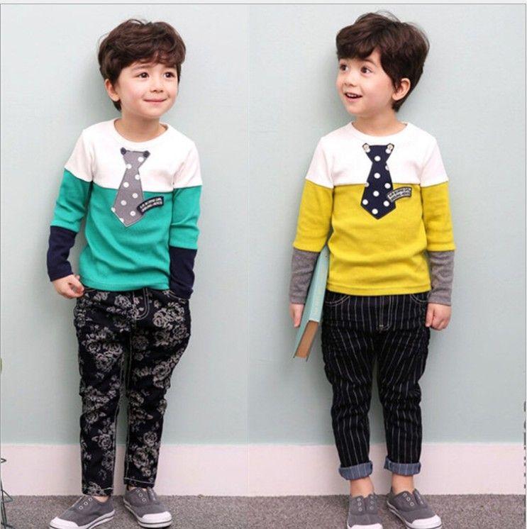 Autumn Boys Clothes Set Long Sleeve Shirts Pants 2pcs Outfit Suits Infant Gentleman Clothing Set