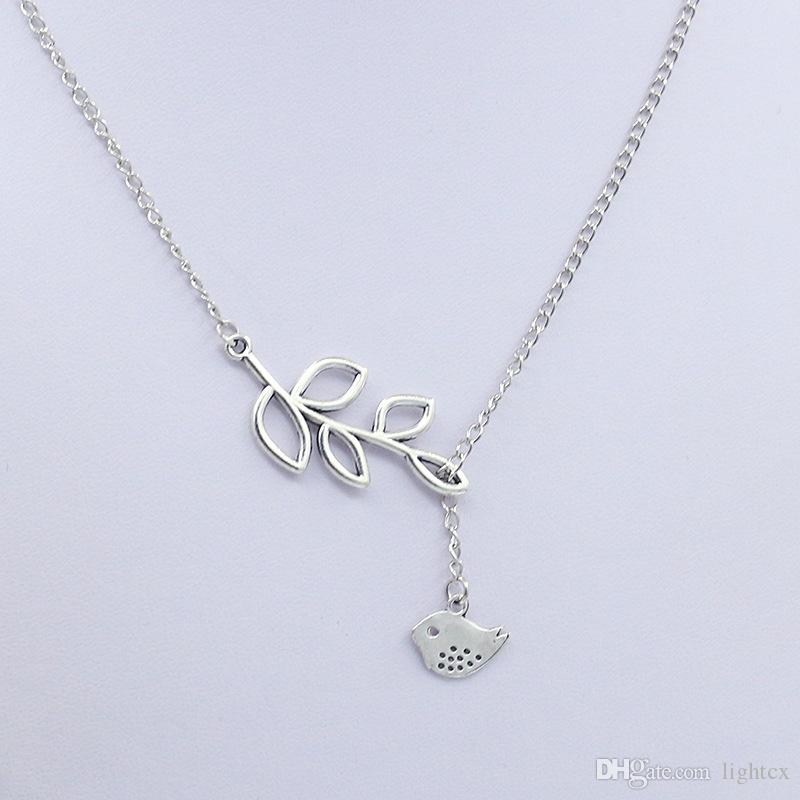 Fashion girl jewelry silver tiny bird leaf necklace gold filled fashion girl jewelry silver tiny bird leaf necklace gold filled lariat gift little bird leaves necklace mozeypictures Gallery