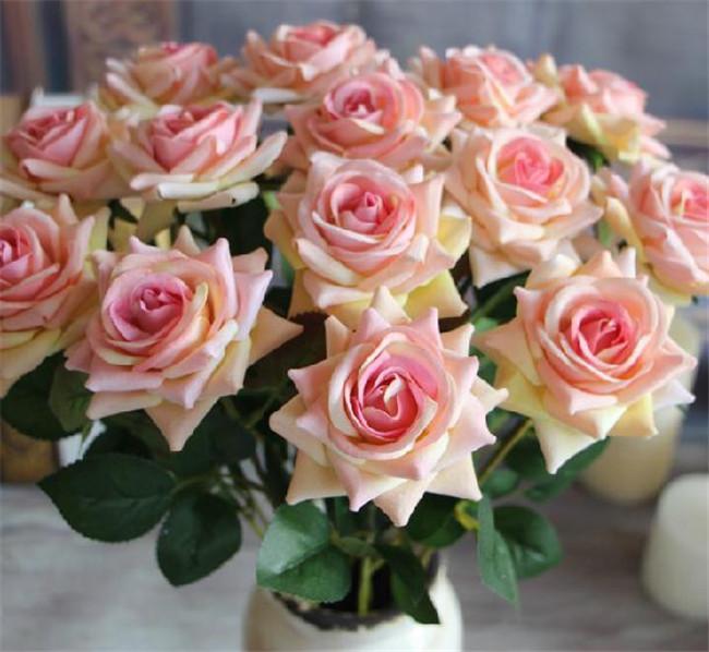 """Różowe róże 50 cm / 19,7 """"Długość 10 sztuk / partia sztuczna pojedyncza róża czerwony / różowy / wino czerwony / gorący różowy / fioletowy / krem do kwiatu ślubu"""
