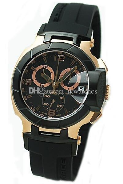 Hot Sale Japan Quartz Movement Chronograph Mäns Klockor Svart Rubber Armbandsur TS07