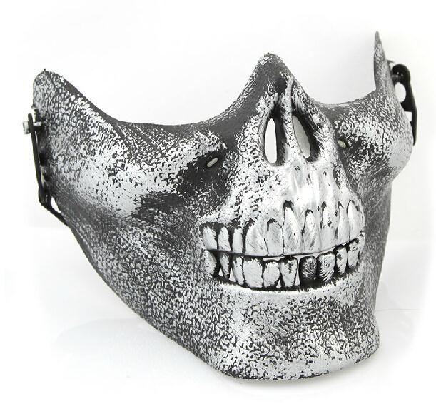 IMC En Gros Nouveau Masque Effrayant Crâne Squelette Airsoft Paintball Demi Visage Masque De Protection Pour Halloween Mascaras CS Games commander $ 18aucun morceau