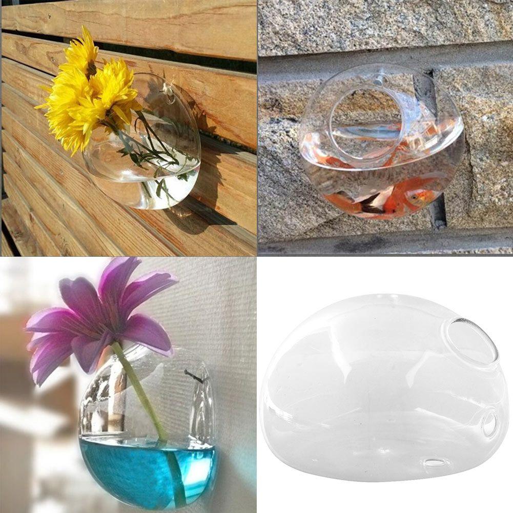 Neue Kreative Halbrunde Wandbehang Glas Blumenvase Hydroponischen Behälter Aquarium Hochzeit