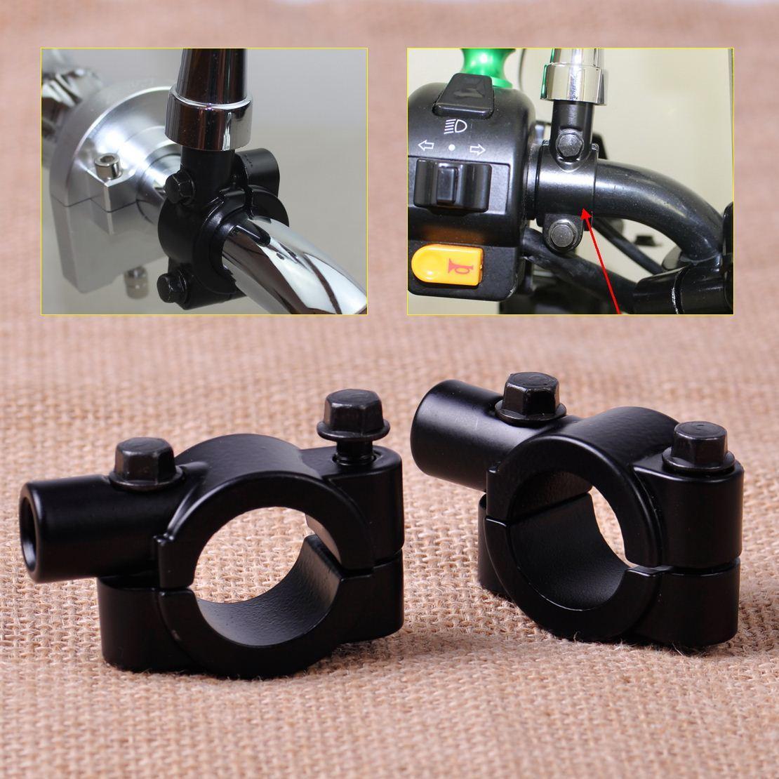 Motorcycle Handlebar Mirror Clamp 1inch 25mm 10mm Mirror Thread Mount Holder Clamp Adaptor Black 2Pieces