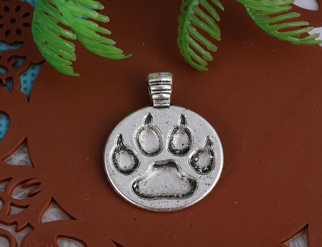 200PCS Vintage Silver Cat Dog Paw Prints Charms Pendant For Women Brand Bracelet Necklace Fashion Jewelry Making DIY Accessories 21x16mm