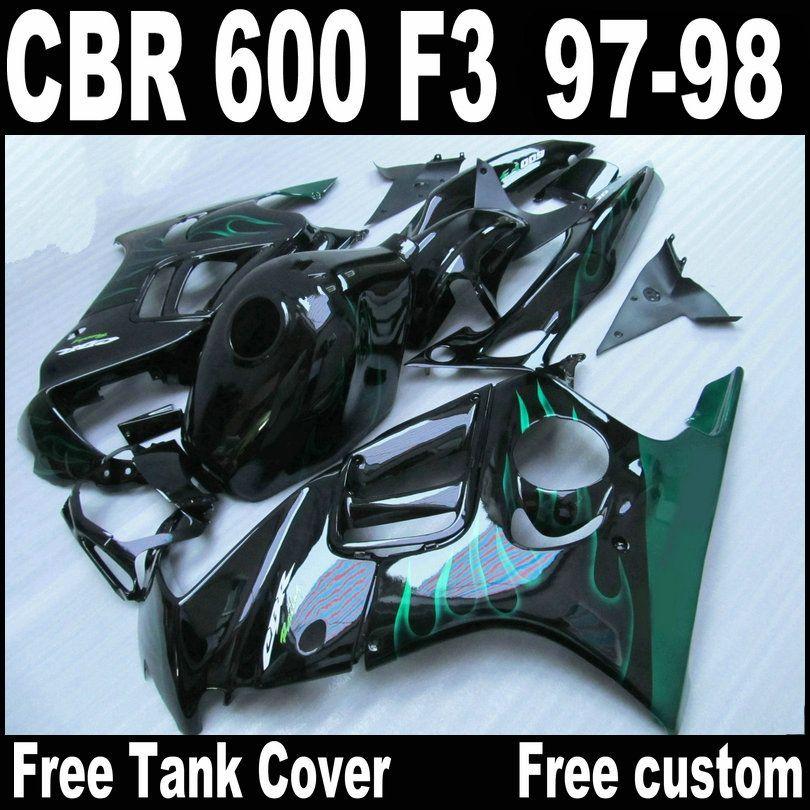 in forma completa per HONDA F3 carenature CBR600 1997 1998 CBR 600 97 98 fiamme verdi in carenatura nera body kit QY66