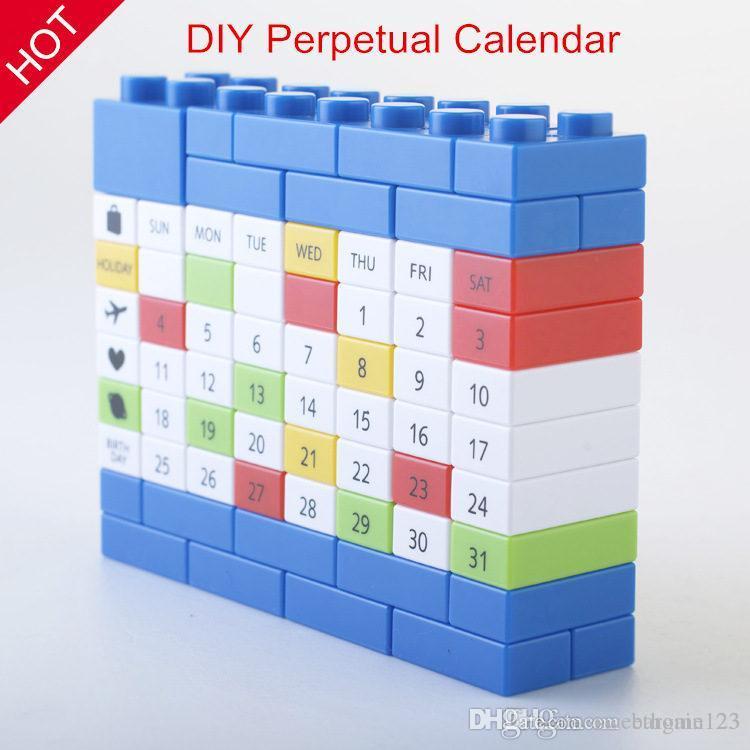 Cadeaux créatifs, calendrier de bricolage de haute qualité calendrier bricolage perpétuel, amusant et créatif, 4 couleurs, bon choix pour vous