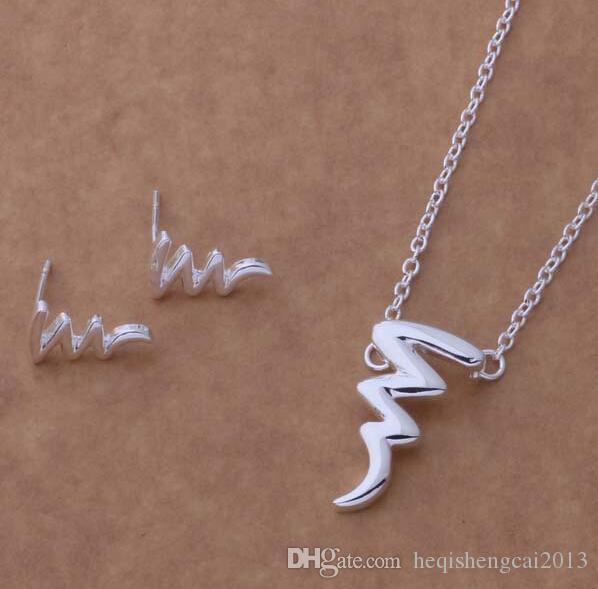 Moda charme pingente Picasso 925 prata Brinco colar conjuntos de jóias 10 set / lote